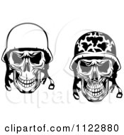Clipart Of Black And White Military And Pilot Skulls Royalty Free Vector Illustration