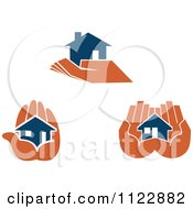 Clipart Of Blue Houses In Orange Hands Royalty Free Vector Illustration