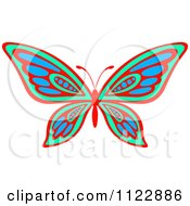 Clipart Of A Vibrant Green Red And Blue Butterfly Royalty Free Vector Illustration by Seamartini Graphics