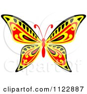 Clipart Of A Red Yellow And Black Butterfly Royalty Free Vector Illustration by Seamartini Graphics