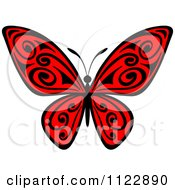 Clipart Of A Red Butterfly With Black Swirls Royalty Free Vector Illustration by Seamartini Graphics