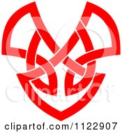 Clipart Of A Red Heart Celtic Knot Poker Playing Card Symbol Royalty Free Vector Illustration