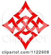 Clipart Of A Red Diamond Celtic Knot Poker Playing Card Symbol Royalty Free Vector Illustration