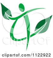 Clipart Of A Green Leaf Person 4 Royalty Free Vector Illustration
