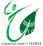 Clipart Of A Green Leaf Person 3 Royalty Free Vector Illustration