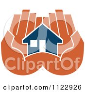 Clipart Of A Blue House In An Orange Hand 3 Royalty Free Vector Illustration