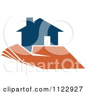 Clipart Of A Blue House In An Orange Hand 1 Royalty Free Vector Illustration