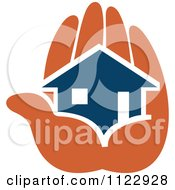 Clipart Of A Blue House In An Orange Hand 2 Royalty Free Vector Illustration