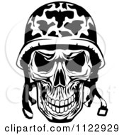 Clipart Of A Black And White Military Skull Royalty Free Vector Illustration