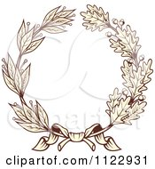 Clipart Of A Vintage Sepia Oak And Laurel Wreath 1 Royalty Free Vector Illustration