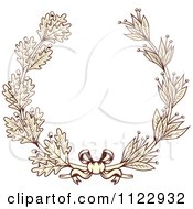Clipart Of A Vintage Sepia Oak And Laurel Wreath 2 Royalty Free Vector Illustration