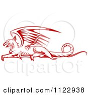Clipart Of A Red Resting Griffin 2 Royalty Free Vector Illustration by Vector Tradition SM