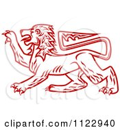 Clipart Of A Red Heraldic Lion 2 Royalty Free Vector Illustration