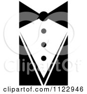 Clipart Of A Black And White Waiter Tie And Suit Royalty Free Vector Illustration