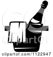Clipart Of A Black And White Place Chilling Bottle Of Wine Royalty Free Vector Illustration