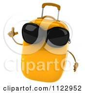Clipart Of A 3d Yellow Suitcase With An Idea And Wearing Sunglasses Royalty Free CGI Illustration
