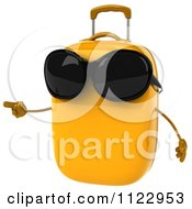 Clipart Of A 3d Yellow Suitcase Pointing And Wearing Sunglasses Royalty Free CGI Illustration