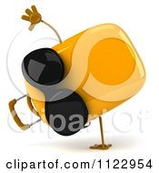 Clipart Of A 3d Yellow Suitcase Cartwheeling And Wearing Sunglasses Royalty Free CGI Illustration