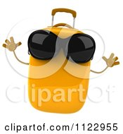 Clipart Of A 3d Yellow Suitcase Jumping And Wearing Sunglasses Royalty Free CGI Illustration