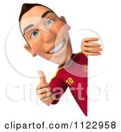 Clipart Of A 3d White Spanish Soccer Player Holding A Sign 4 Royalty Free CGI Illustration