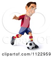 Clipart Of A 3d White Spanish Soccer Player 4 Royalty Free CGI Illustration
