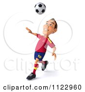 Clipart Of A 3d White Spanish Soccer Player 5 Royalty Free CGI Illustration