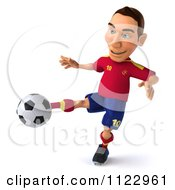 Clipart Of A 3d White Spanish Soccer Player 6 Royalty Free CGI Illustration