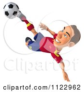 Clipart Of A 3d White Spanish Soccer Player 7 Royalty Free CGI Illustration