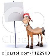 Clipart Of A 3d Happy Christmas Horse With A Sign 3 Royalty Free CGI Illustration