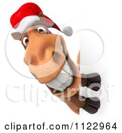 Clipart Of A 3d Happy Christmas Horse With A Sign 2 Royalty Free CGI Illustration