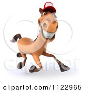 Clipart Of A 3d Happy Horse Running And Wearing A Hat Royalty Free CGI Illustration