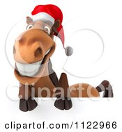 Clipart Of A 3d Happy Christmas Horse With A Sign 1 Royalty Free CGI Illustration