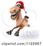 Clipart Of A 3d Happy Christmas Horse Running Royalty Free CGI Illustration