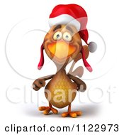 Clipart Of A 3d Christmas Chicken Walking 1 Royalty Free CGI Illustration