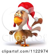 Clipart Of A 3d Christmas Chicken Walking 2 Royalty Free CGI Illustration