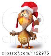 Clipart Of A 3d Christmas Chicken Presenting Royalty Free CGI Illustration