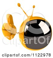 Clipart Of A 3d Retro Yellow TV Holding A Thumb Up Royalty Free CGI Illustration by Julos