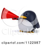Clipart Of A 3d Penguin Using A Megaphone 1 Royalty Free CGI Illustration