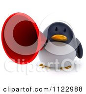 Clipart Of A 3d Penguin Using A Megaphone 2 Royalty Free CGI Illustration
