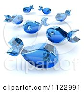 Clipart Of 3d Blue Glass Fish Royalty Free CGI Illustration