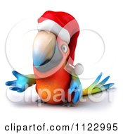 Clipart Of A 3d Christmas Macaw Parrot Presenting Royalty Free CGI Illustration