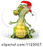 Clipart Of A 3d Christmas Crocodile Presenting Royalty Free CGI Illustration
