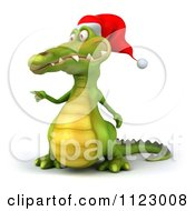 Clipart Of A 3d Christmas Crocodile Pointing Royalty Free CGI Illustration