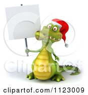 Clipart Of A 3d Christmas Crocodile With A Sign 1 Royalty Free CGI Illustration