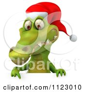Clipart Of A 3d Christmas Crocodile With A Sign 2 Royalty Free CGI Illustration