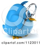 Clipart Of A 3d Bluebird Using A Magnifying Glass 1 Royalty Free CGI Illustration