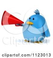 Clipart Of A 3d Bluebird Using A Megaphone 1 Royalty Free CGI Illustration
