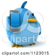 Clipart Of A 3d Bluebird Holding A Cell Phone 1 Royalty Free CGI Illustration
