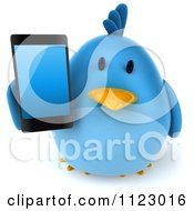 Clipart Of A 3d Bluebird Holding A Cell Phone 2 Royalty Free CGI Illustration