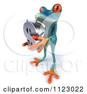 3d Turquoise Springer Frog Holding A Dollar Symbol 1